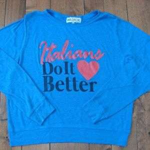 Wildfox Blue Baggy Beach Jumper Sweatshirt